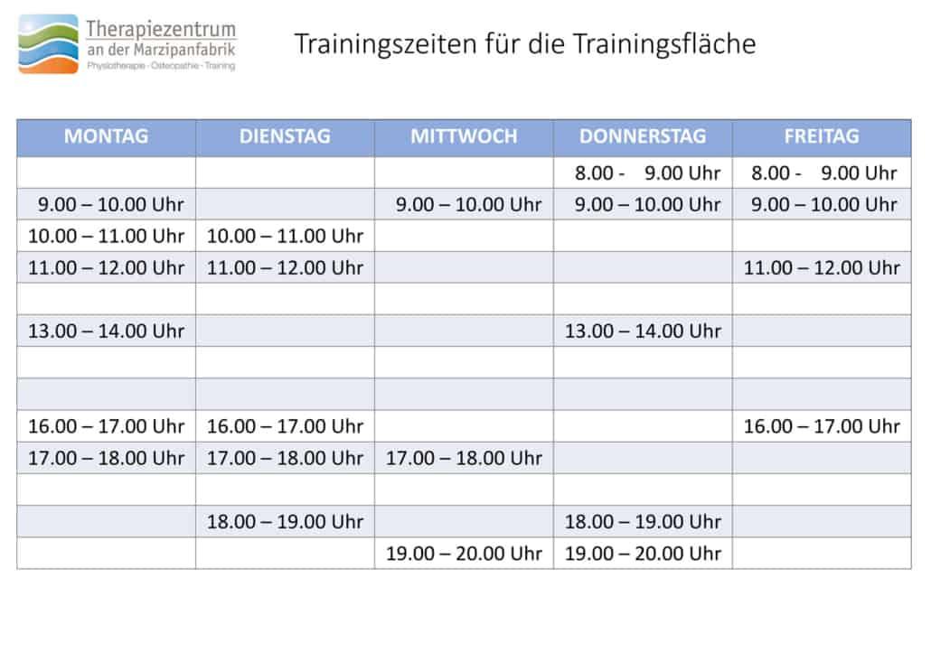 Trainingszeiten für die Trainingsfläche